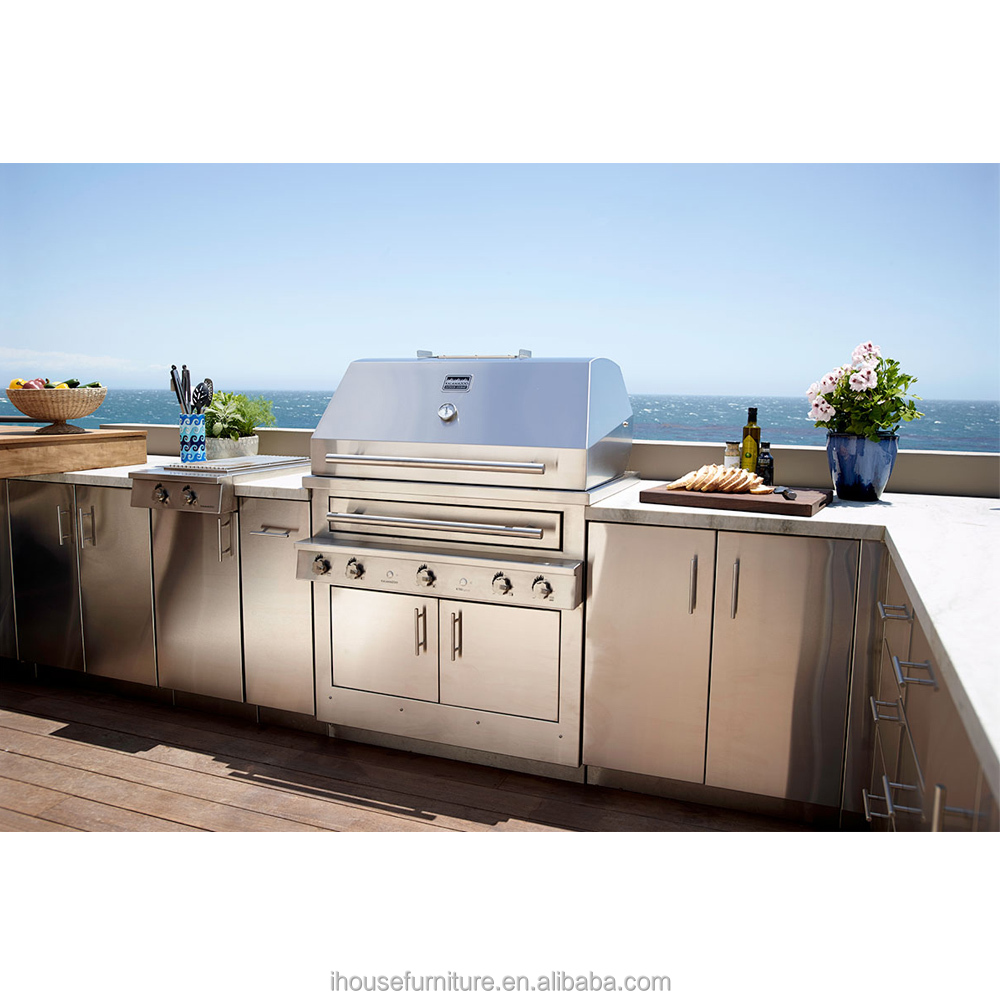Guangzhou Factory Wholesale And Retail Top Quality Low Cost Stainless Steel Outdoor Kitchen Cabinets