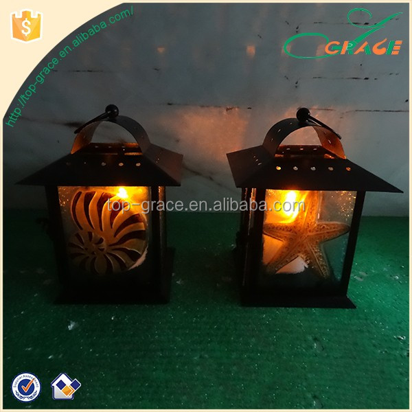 Eco-friendly metal glass garden decoration storm lantern light