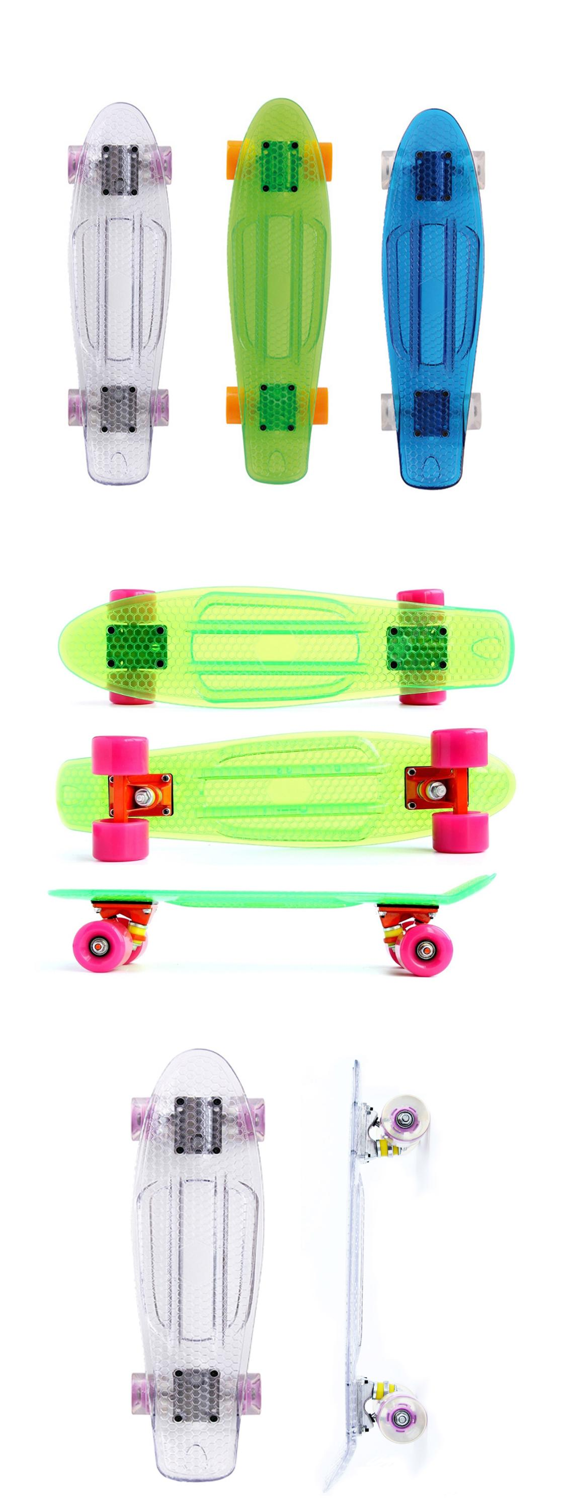 Wholesale plastic cruiser skateboard 22inch transparent skateboard cruiser longboard