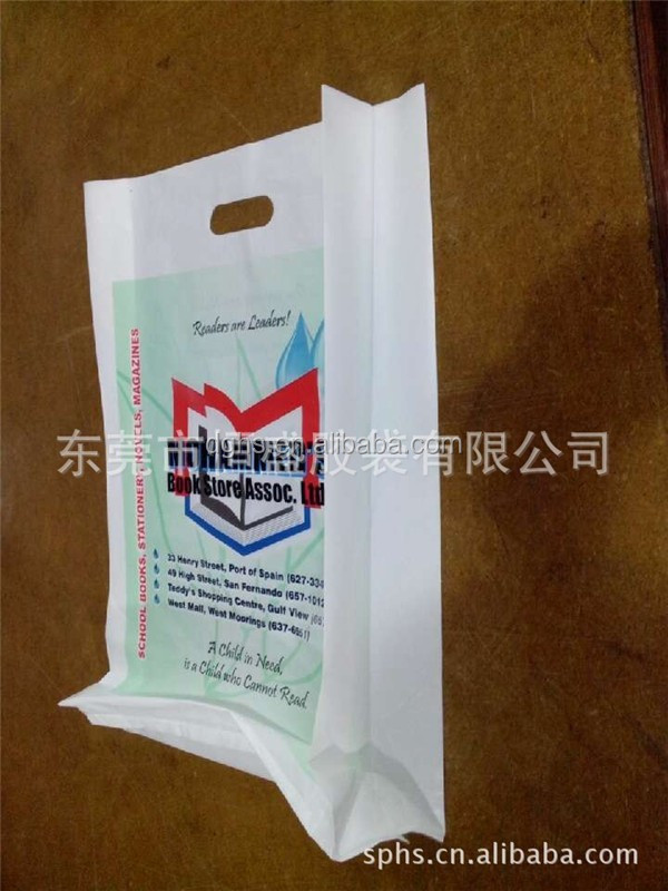 plastic recycled hdpe plastic die cut handle bags / punch die cut plastic logo bag with and custom printing