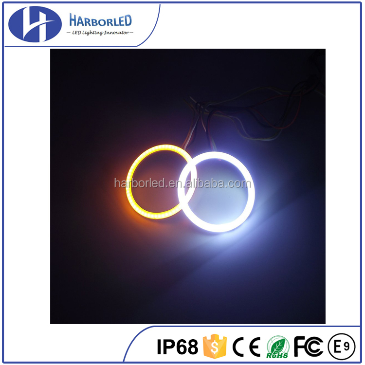 Universal Switchback COB Dual Color LED Angel eyes Halo rings Marker Brake Reverse Light