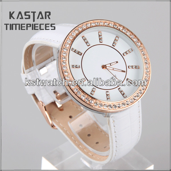 White ladies leather western wrist watches