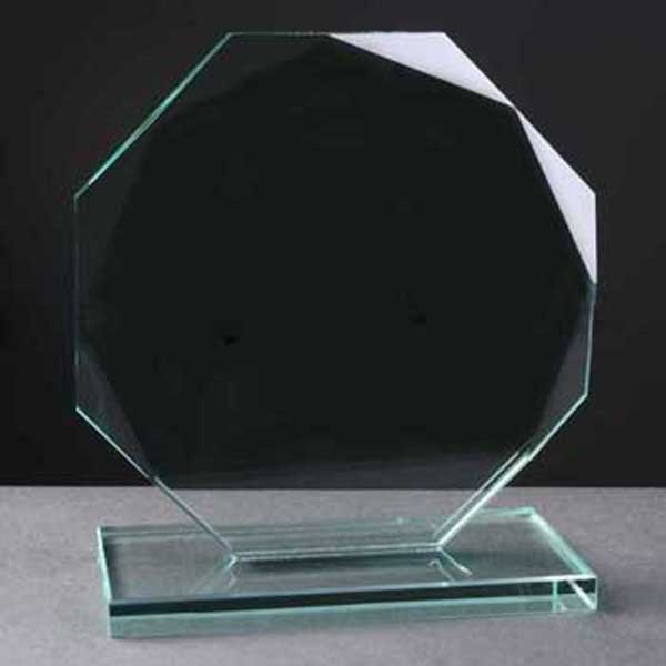 cheap blank faceted glass medal for 3d laser engraving