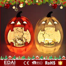 Delicate acrylic water ball led glittering lights pumpkin lantern ornament with nightmare scene inside