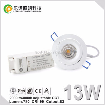 2000k to 3000k color adjust cob led downlight 8w 13W 15w with dimmable with elko dimmer ce&rohs