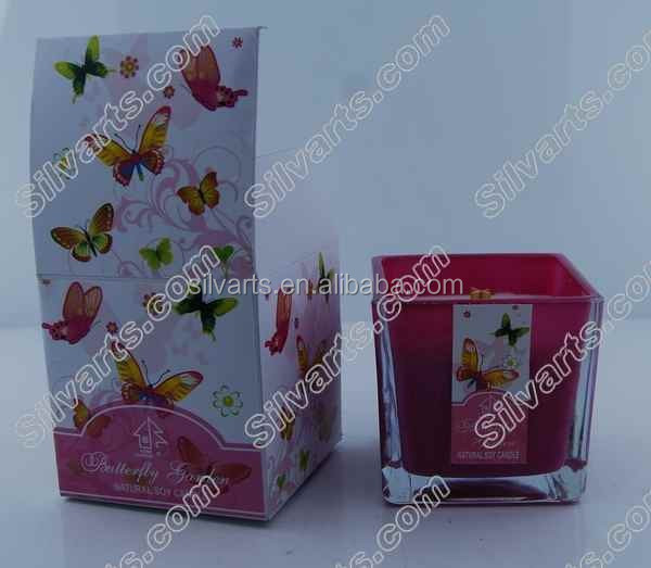nutural soy wax scented square glass jar candle