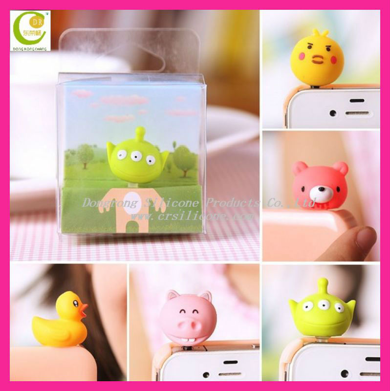 Promotional christmas gifts 3d mini animal custom silicone rubber cell phone dust plug charm for apple iphone
