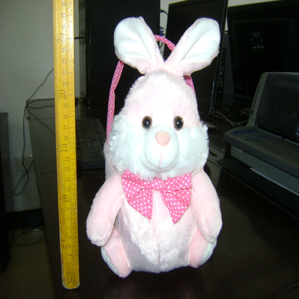 30cm beautiful promotional customized soft stuffed pink plush rabbit animal shape basket toy with red handle&bowtie