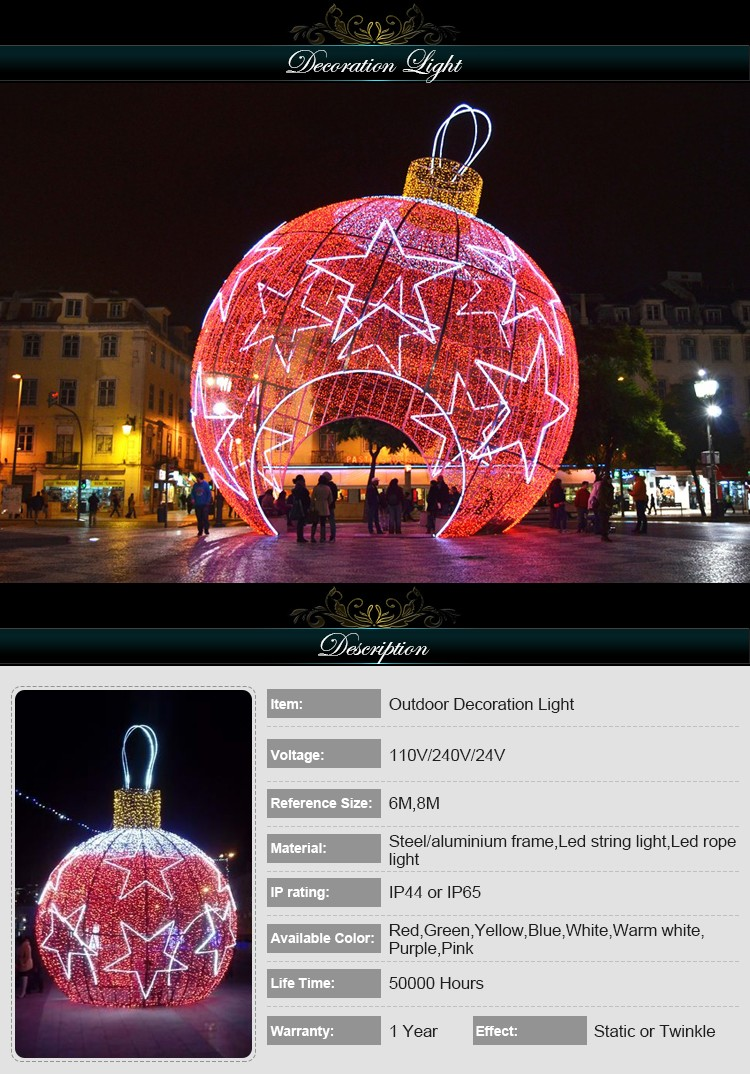 Waterproof garden lighted large christmas decoration balls for Outdoor christmas balls that light up