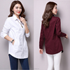 The autumn ladies shirt pure ribbon long sleeve render unlined simple long blouse for women