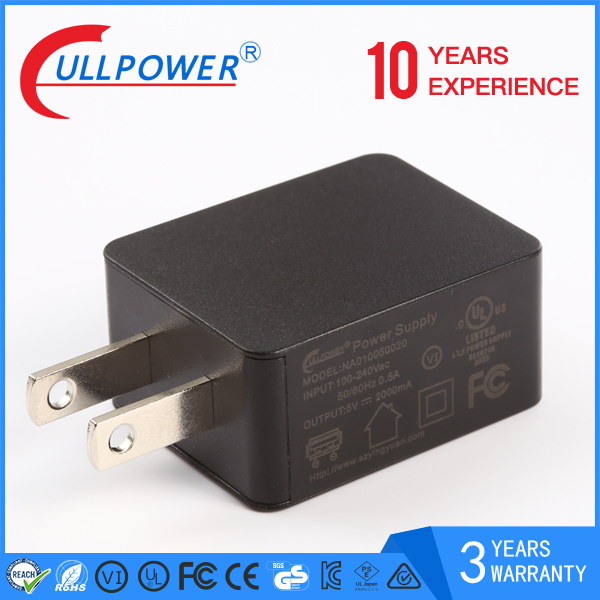 6w us plug universal travel charger or wall charger single port for Phone or moblie phone 5V2.1A usb charger