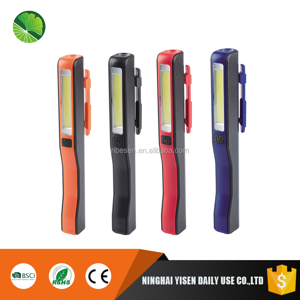 3W plastic New COB led working light pen shape pocket flashlight with magnet