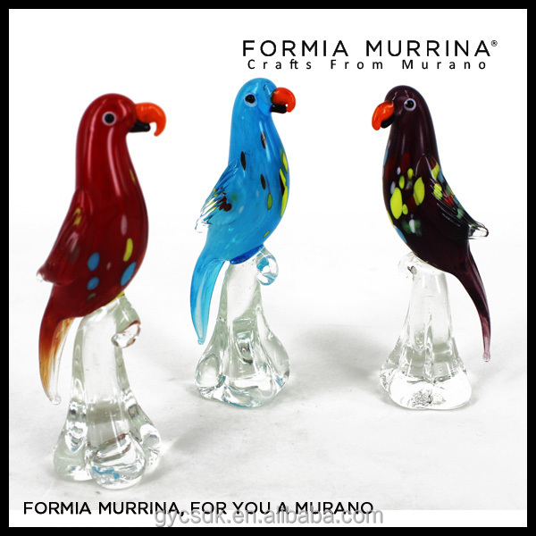 Handcrafts Murano glass parrots antique glass animal figurines