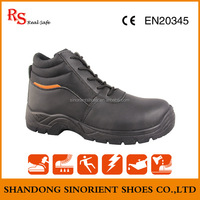 Hot selling action leather working protective safety shoes Dubai black steel toe safety boots with zipper Insolent work SNF502