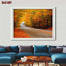 Modern Giclee Artwork Beautiful Maple Forest Landscape Canvas Printing for Home Decoration