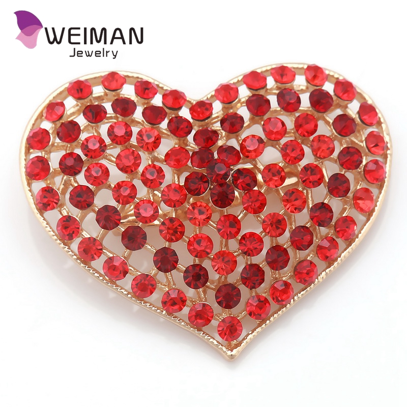 High quality women handmade wholesale crystal heart brooch and pins
