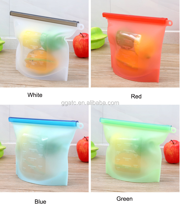 Hot selling and new style silicone food storage bag,snack food bag,fitness food bag