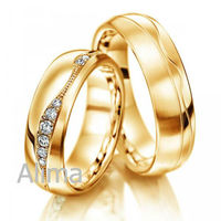 AGR0024-Y- gold bands and nickel free wedding rings, 18 carat yellow gold wedding rings