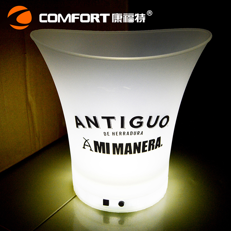 Alibaba supplier plastic rechargeable white led illuminated wine bucket