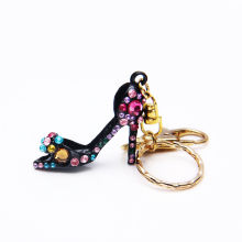 hot selling premium Metal heels keyring with colorful crystal rhinestone