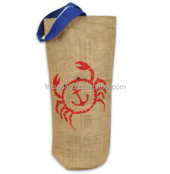 Custom Nature Color With Printing Jute Wine Bottle Packing Bag/Jute Wine Bottle Bag