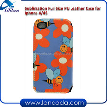 Full size sublimation leather phone case for iphone4/4s