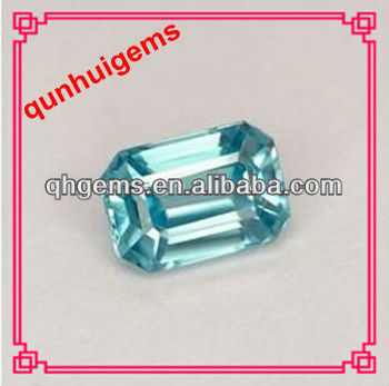 new trend fashion emerald cut aquamarine cubic zirconia stone