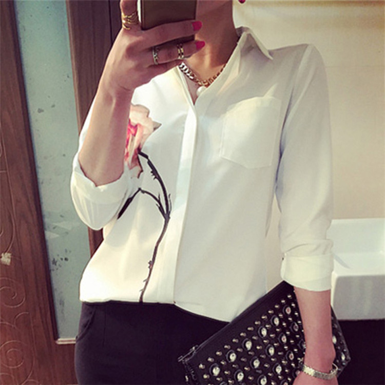 Flower Printed Long Sleeve Blouse Women Turn Down Collar Chiffon Shirts White Big Size Women Clothes