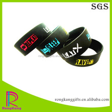 fashion 1 inch Eat Sleep Rave Repeat engraved color filled silicone bracelet