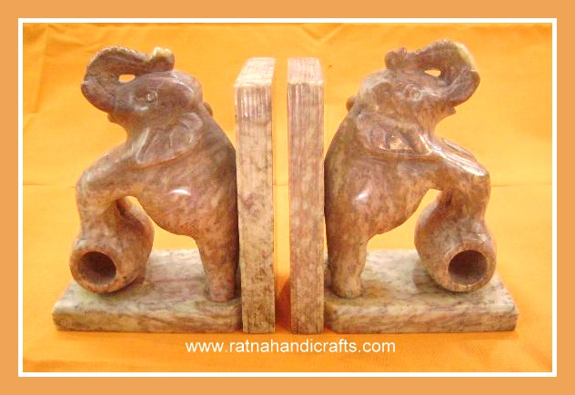 High Quality Indian Marble Bookend With Elephants