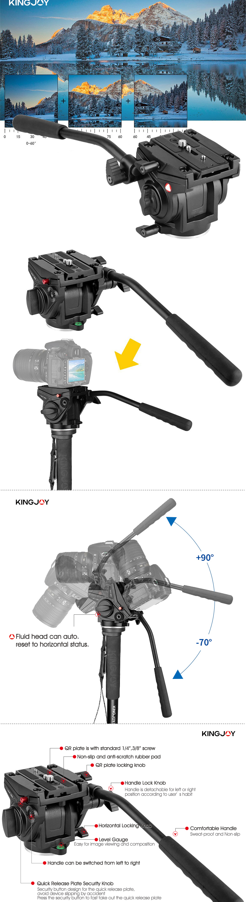 KINGJOY minipod tripod monopod for camera shooting angle can be adjusted freely