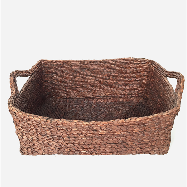 Handmade Rectangular Straw Laundry Hamper Basket With Handle