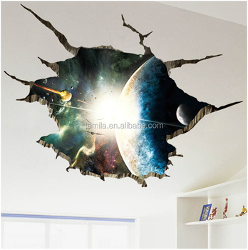 Top quality removable 3d pvc material cartoon space star galaxy ceiling wall sticker in kids boy living room wallpaper
