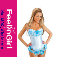 2014 wholesale sexy blue white overbust body slimming cheap corset