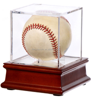 Clear Single Acrylic Baseball Display Case and Wood Base Wholesale