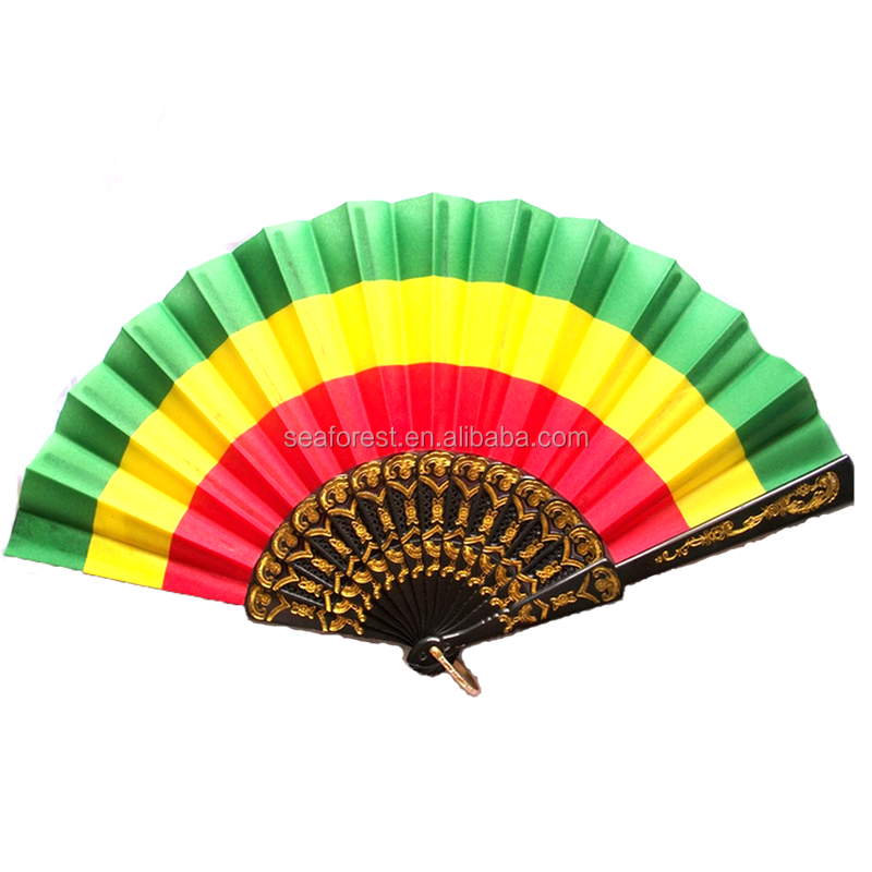 Promotional Turkey National Flag Color Hand Held Folding Fans For 2018 World Cup