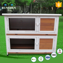 Two-double Open Roof Adjustable Feet Wooden Rabbit Hutch