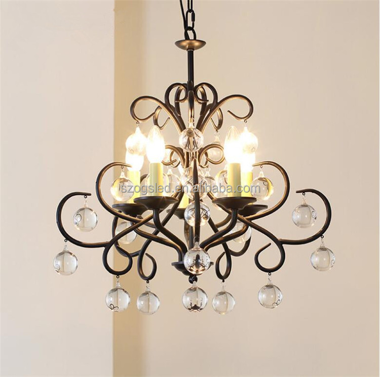 Black iron small crystal chandelier glass ball decoration pendant lamp