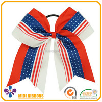 6 inch double layer large bow elastic ponytail holder cheer hair bows
