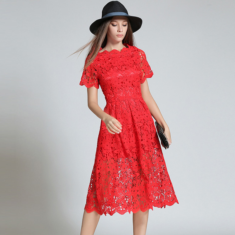 china guangzhou factory new design lace dress short sleeve midi dress wedding evening dress for women