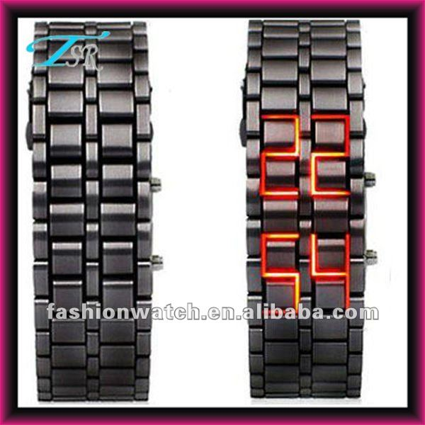 2016 hottest style cheap iron samurai lava led watch black metal for men