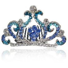 HH1011 Wholesale Metal Shiny Special Small Blue Tiara