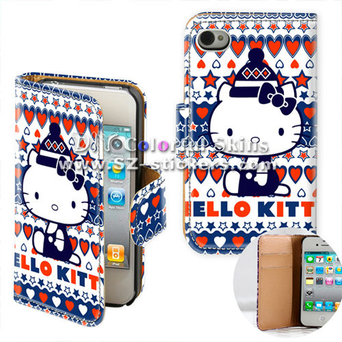 hello kitty design leather case for iphone 4 (horizontal open)