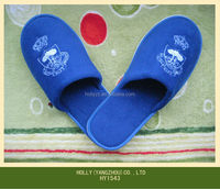 Comfortable Cotton velour blue slippers for hotel