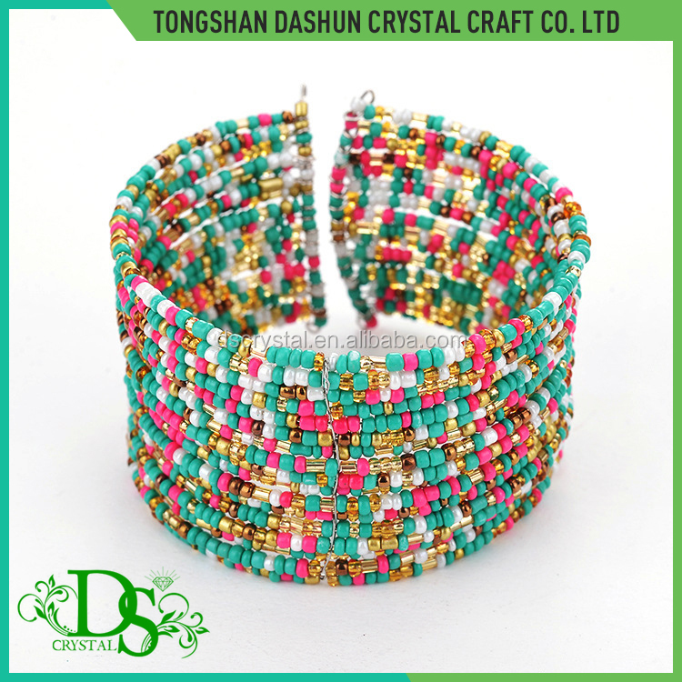 Fashion mixed colors handmade seed bead bracelet bangle bracelet