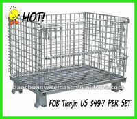 6mm wire diameter removable warehouse chickenmesh container with wheels