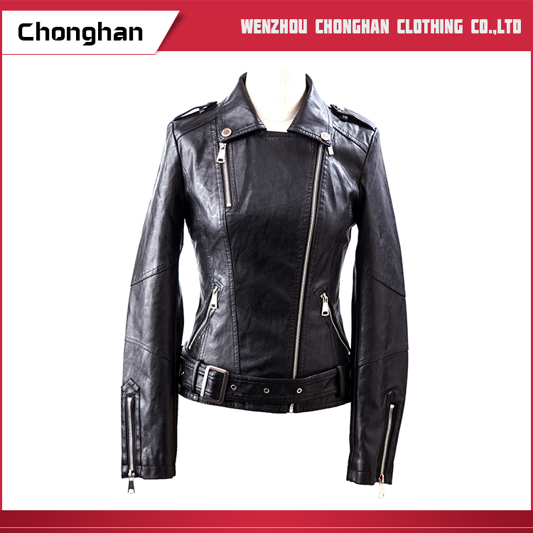 Chonghan Cheap Price Custom Made Black Ladies Leather Jacket Suits