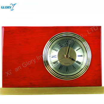 Cuboid wood frame table clock