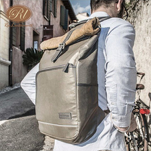 Roswheel Retro New Style Top-roll Waterproof Canvas Bike Bicycle Backpack Bag