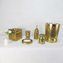 Classic high quality gold glass bath room accessories set